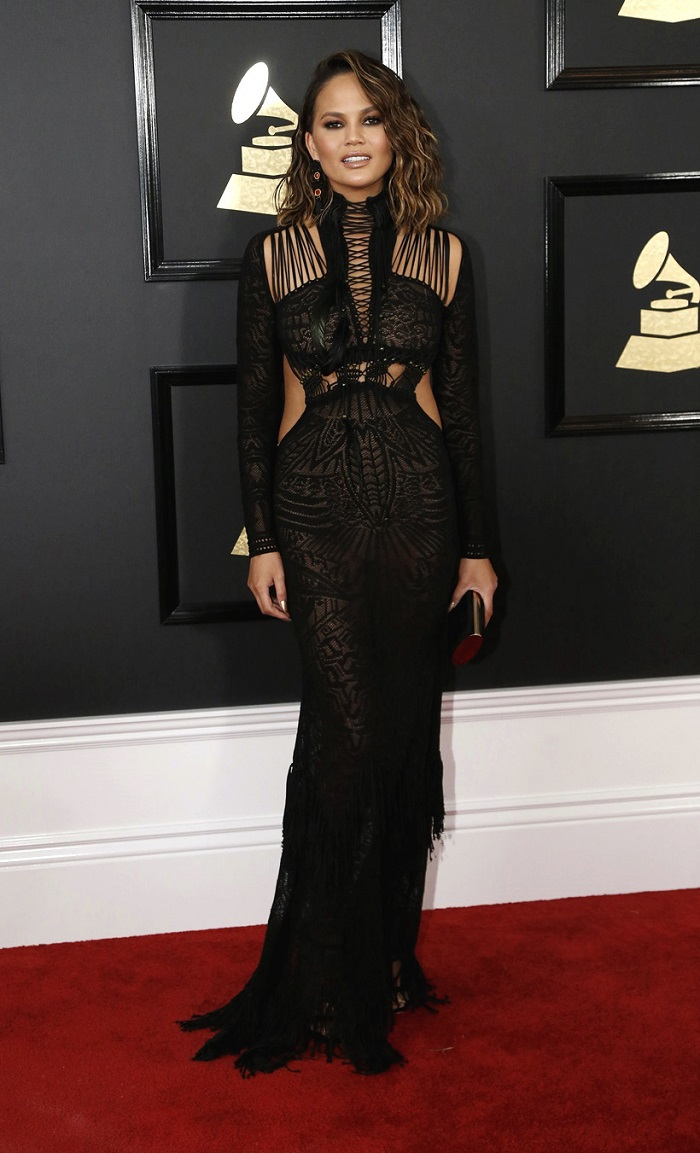 Model Chrissy Teigen arrives at the 59th Annual Grammy Awards in Los Angeles