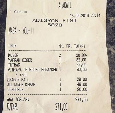 alaçatı yemek faturası